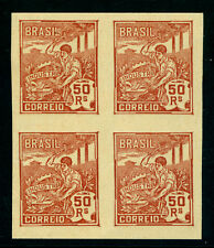 BRAZIL 1923 Industry 50r org.br Sc# 241  IMPERFORATED  BLOCK of 4 - no watermark