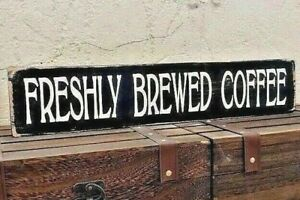 Freshly Brewed Coffee Sign Wooden Vintage Coffee Shop Restaurant Cafe Sign