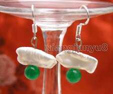 12-15mm White Natural Biwa Pearl Earring for Women 6mm Green Jade Dangle Earring