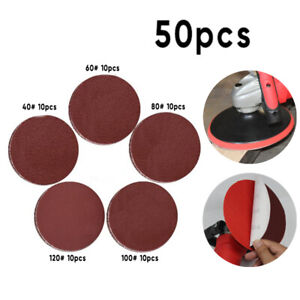 50* 7in No Hole Sander Sanding Discs Pads 40/60/80/100/120 Grit Sandpaper Set