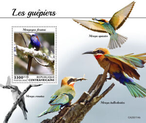 Central African Rep Birds on Stamps 2020 MNH Bee-Eaters Bee-Eater 1v S/S
