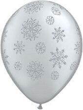 Frozen/Christmas Party Glitter Snowflakes on Silver Metallic Balloon 28cm