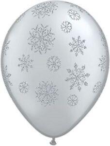 Frozen / Christmas Glitter Snowflakes Silver Metallic Balloon 28cm