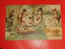ZN793 Vintage Postcard Cats Hunting with Rifles Artist Boulanger Int. Art Pub Co