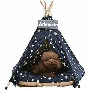 Pet Tent for Dogs Puppy Cat with Bed, Canvas Dog House, Pet Teepee with