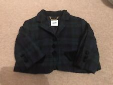 Moschino Size 10 Cropped Tartan Jacket 100% Wool