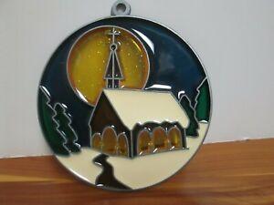 Vintage Winter CHURCH Suncatcher Christmas Ornaments