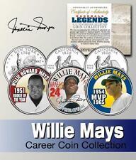 Willie Mays Hof CALIFORNIA & New York state quarter 3-coin ensemble