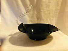 "Vintage Glass Black Swan Fruit Bowl 12"" - PRICE REDUCED"