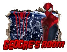 Personalised Any Name Spiderman Wall Decal 3D Sticker Vinyl Room Bedroom
