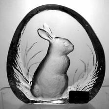 Mats Jonasson Signature cristal sculpture lapin signé étiqueté boîte d'origine