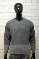 Calvin Klein Maglione Taglia L Uomo Pullover Felpa Cardigan Lana Sweater Grigio