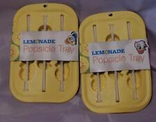 LOT OF TWO (2) GREAT SUMMER FUN SILICONE LEMONADE POPSICLE TRAYS w/STICKS