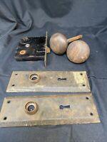 Vtg Lockwood Entry Mortise Lock Deadbolt Door Back Plates Brass Hardware Antique