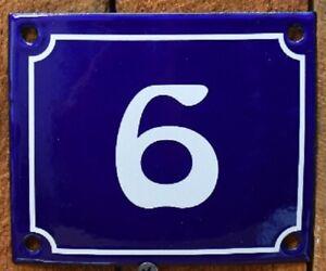 Vintage Style Blue Enamel Porcelain French House Number Door Steel Metal Sign 6