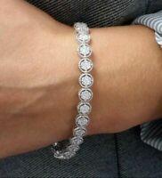 "14K White Gold Over 10 CT Round Cut VVS1 Diamond Tennis Bracelet 7.25"" inch"