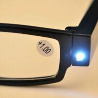 Black Unisex Rimmed Reading Eye Glasses Eyeglasses Hot Spectacal Light LED W0G3