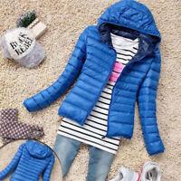 Womens Overcoat  Winter Coat Slim Parka Outwear Trench Hooded Jacket zipper