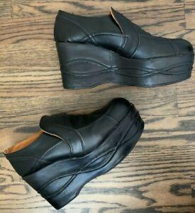 Underground Shoes England VTG Black Leather Platforms UK 6 - US 8 NEED REPAIRS