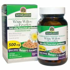 White Willow Bark Extract with Feverfew 500mg 60 Veg Caps Strong 15% Salicin