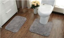 2PCS Cotton Bathroom Rug Set Antislip Toilet Mat Bath Mat 50*50+40cm*60cm Gray