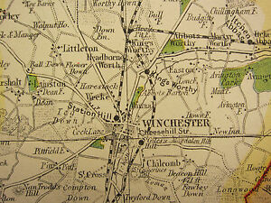 1920 COUNTY MAP of HAMPSHIRE NORTHERN SOUTHAMPTON PARKS SEATS RAILWAY etc