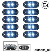 10x Clear White 12v 2 Led Side Front Marker Lamps Lights Truck Lorry E-Mark