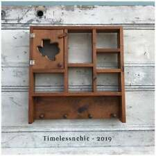 Vintage Wooden TEXAS Wall Hanging Knick-Knack Display Shelf with Hooks~ Rustic