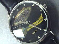 "Treasure Hunt mens watch black 8"" padded band Las Vegas face new battery 35mm"