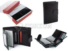 BLACK MENS LUXURY LETHER BUSINESS LEATHER BIFOLD