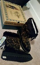 RRP $120 NEW SKECHERS Blissful knits animal print Brown boots 37- US 7/ 24CM