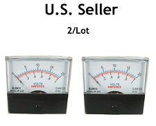 "2-1/2"" Inch Panel Meter: 0-20V & 0-1A Scales: 1mA Movement: 2/Lot: Nice Meter"