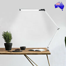 LED Dimmable Desk Lamp Bed Side Table Lamp Foldable with Clamp Flex Arm Silver