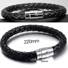 UK COOL MENS REAL LEATHER CUFF WRISTBAND BRACELET BANGLE JEWELLERY FOR GUYS NEW