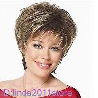 Cosplay Pale Blonde & Darkest Brown Mixed short Wig NO:A59