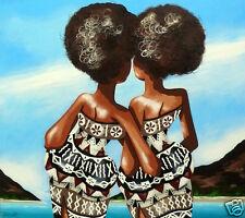Fiji art print painting palm tree girls beach by Andy Baker COA Authentic