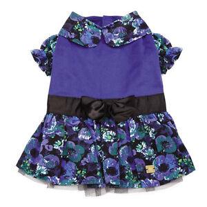 M. Isaac Mizrahi Floral Dot Collection Party Dog Dress Pet Blue Black Designer