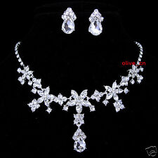 Wedding Full Crystal Drip Drop Flower Star Prom Party Necklace Earrings Set
