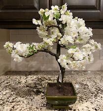Nearly Natural Cherry Blossom Bonsai Artificial Tree In Green Ceramic Pot NEW