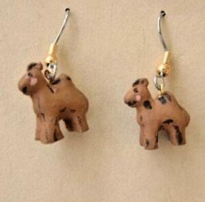 Funky Mini CAMEL EARRINGS Resin Desert Safari Egypt Zoo Circus Animal Jewelry