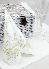 50 Mank Linclass Linen Feel Paper Napkins 40 x 40cm - Wedding Gold / Ivory