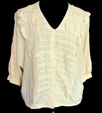 Vintage Mercedes & Adrienne Silk Blouse Beaded Ivory Off White Shirt Size 10