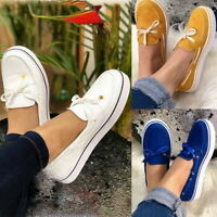 Womens Casual Lace Up Flat Sneakers Trainers Slip-on Flats Loafers Shoes Size SH