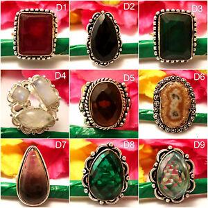 "Moonstone Citrine Solar Quartz Gemstone Rings 925 Silver Overlay Size 8"" U140 O"