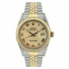 Rolex Datejust Men's - 16013 - Two-tone - Champagne - Roman NUmerals Watch
