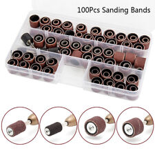 104pcs Rotary Drum Sanding Band Mandrel  Dremel Tool Kit Sleeve 60 120 320 Grit
