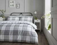 Cotton Rich Check Duvet Cover Set in Grey & White Double Bed Size Reversible