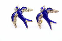 Vintage style gold blue enamel swallow bird charm earrings