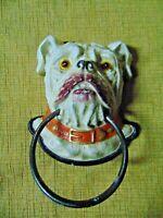 BULLDOG CAST IRON DOG PUPPY ENGLISH DOOR KNOCKER PUG handle leash repro