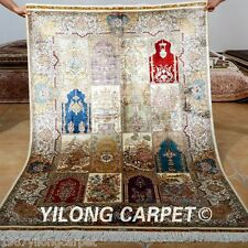 Yilong 4'x6' Classic Silk Rugs Hand made Carpets Contemporary Hand-knotted 0685